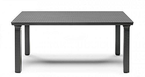 Ideapiu Table rectangulaire d'extérieur Anthracite, 170 x 100 cm, Plateau tressé en polypropylène, Table de Jardin