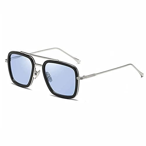 Greatangle-UK Gafas de Sol cuadradas Retro portátiles para Hombres y Mujeres Lente Plana con Marco de Metal