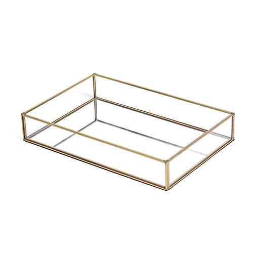I Storage Plateau à Miroir, Plateau de Coiffeuse rectangulaire en métal doré avec Base en Verre Miroir pour Coiffeuse, Salle de Bain, Chambre à Coucher