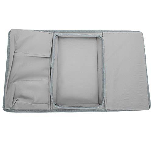 4 bolsillos sofá bolsa de almacenamiento sofá apoyabrazos TV control remoto organizador sillón sofá bolsa con bandeja portavasos gris