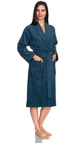 TowelSelections Women's Robe, Turkish Cotton Terry Shawl Bathrobe X-Small/Small Blue Ashes