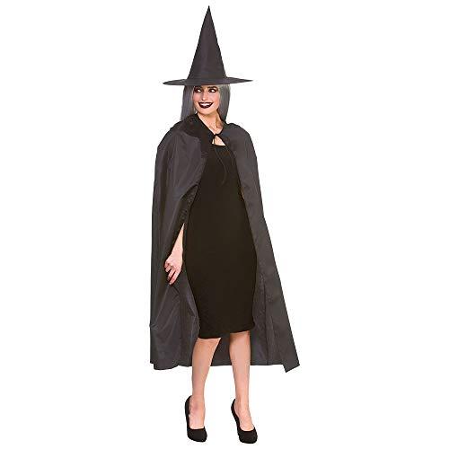 Accesorio para disfraz de bruja y sombrero para mujer, color negro
