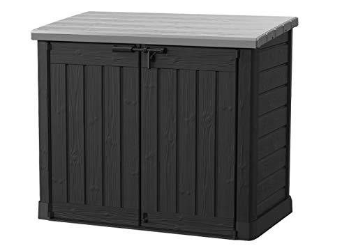 Store it out Max Mülltonnenbox mit Gasdruckfeder, wetterfest, abschließbar, schwarz, 1.200 L, 145,5 x 82 x 125cm