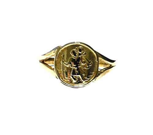 St. Christopher Ring Yellow Gold Solid Hallmarked Ladies Dress Ring Size F - V / Size: I