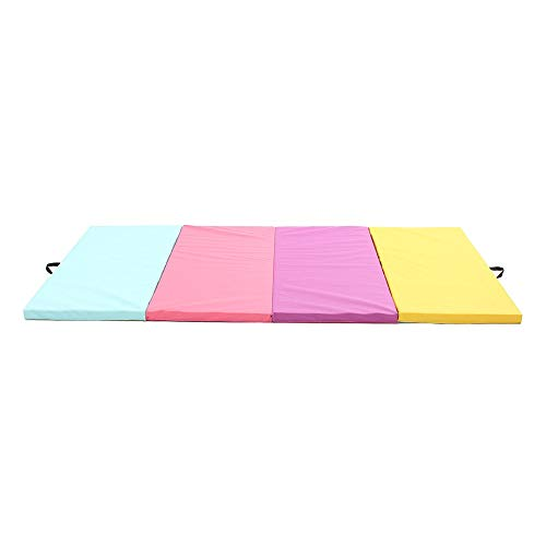 DHTOMC Gymnastikmatte 4 Folding Leder Turnmatte Yoga-Übung Gym-Panel Tumbling Klettern Pilates Pad Air Track for Frauen und Männer Extra Dicke High Density (Color : Multi-Colored, Size : One Size)