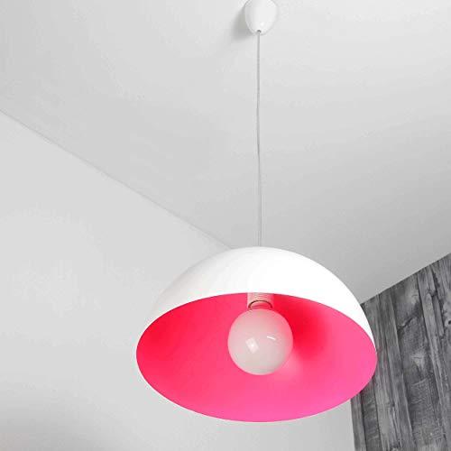 Pendelleuchte rund weiß pink E27 bis zu 100 Watt 230 V Hängelampe 33cm Pendellampe Esstisch Küche Wohnzimmer Lampe modern Beleuchtung...
