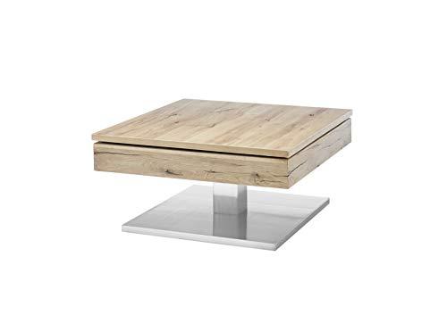 MCA Couchtisch Monrovia in Asteiche/Eiche Beistelltisch mit drehbarer Tischplatte und Edelstahl 75 x 75 cm