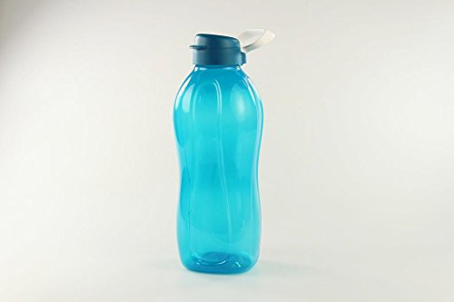 Tupperware to Go Eco 2 L blau+Halter Trinkflasche Clippverschluss Ökoflasche 16906, Kunststoff, 10.6 x 13.8 x 31.8 cm