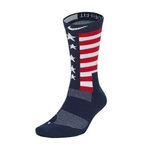 Nike Elite Energy RWB Crew Socks Midnight Navy/University Red/White LG (Men's Shoe 8-12, Women's Shoe 10-13