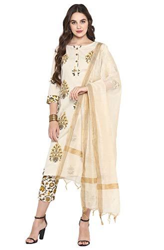 Janasya Women's Cream Pure Cotton K…