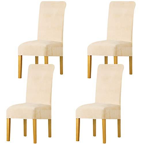 LANSHENG Stretchy Stuhlbezüge für Esszimmerstühle, Stretch Spandex mit Gummiband Stuhlbezug,Velvet Large Dining Chair Schonbezüge für Restaurant Hotel Party Bankett (Beige,4 Pack(M))