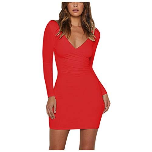 TAOtTAO Sexy Women Long Sleeve V-Neck Dress Evening Party Bodycon Clubwear Dress (S) Red