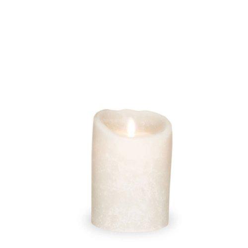 sompex Flame LED Kerze 8x12,5 weiß Echtwachs gefrostet m. Timer