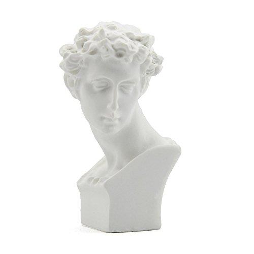 Owfeel Busto de yeso Estatua pintura de pescar de resina color blanco tipo D