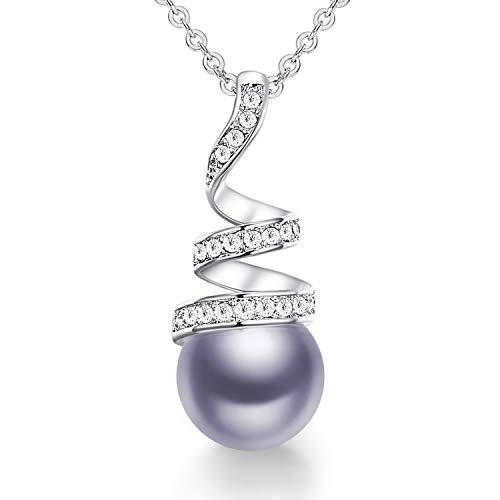 CDE Pearl Pendant Necklace for Women 925 Sterling Silver/White Gold/Rose Gold Plated Pearl Necklace Embellished with Crystals ChristmasJewelry Gift Birthday Gift for Mom Women Wife Girls Her