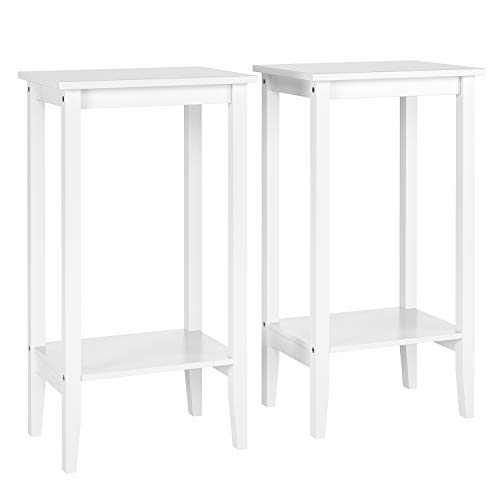Homfa Beistelltisch 2er Set Couchtisch Sofatisch mit 2 Ablagen Wohnzimmertisch Nachttisch Tisch Holz Weiß 40x30x73,5cm
