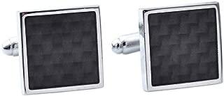 Black Carbon Fiber Retro Stainless Steel Square Cufflinks Business EN
