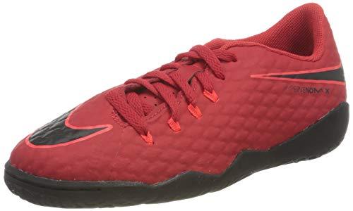 Nike Junior HypervemonX Phelon III IC Football Boots 852600 Soccer Cleats (UK 5.5 us 6Y EU 38.5, University red Black 616)