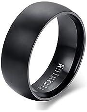 خاتم للرجال، مصنوع من فولاذ التيتانيوم، مقاس 10، اسود