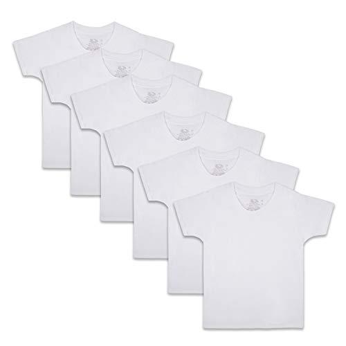 Fruit of the Loom Boys' Cotton White T Shirt, Toddler - 6 Pack - White, 4T/5T