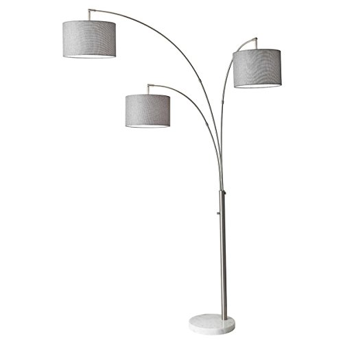 """Adesso 4250-22 Bowery Arc 3-Light Floor Lamp, Steel, Smart Outlet Compatible, 83"""""""