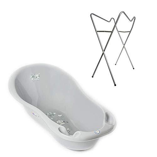 Tega Baby ® ergonomische Badewanne 86cm SET 3-teilig mit faltbarem Gestell + Stöpsel zum Wasserablassen Abfluss Babybadewanne 0-12 Monate, Motiv: Eule - grau, Ständer: Silber