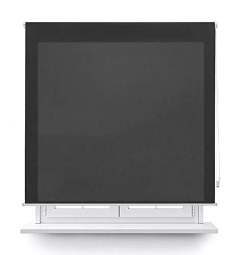 Preisvergleich Produktbild Mercury Textil Rollo,  transparent,  einfarbig,  Schwarz,  150 x 180 cm