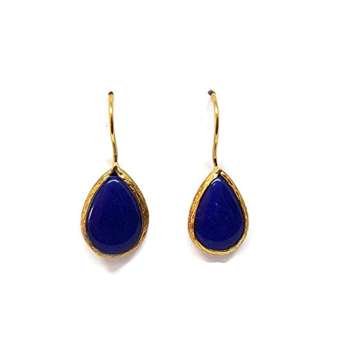 Mystic Jewels by Dalia - Pendientes Largos forma de gota con Piedra Natural (Azul)