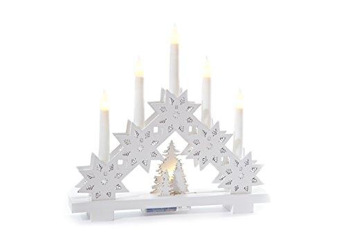 Heitmann Deco LED-Lichterbogen aus Holz - Stimmungsleuchter - Schwibbogen - beleuchtete Weihnachtsdeko - weià - für innen