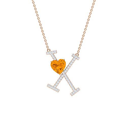 Collar de zafiro naranja creado en laboratorio de 7 mm, colgante con inicial de moissanita de 1/4, collar de letra X naranja