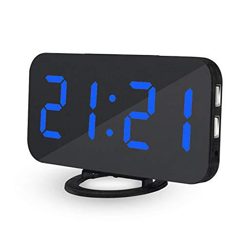 FPRW creatieve wekker, elektronische klok, voor het opladen van de mobiele telefoon, snooze-display, achtergrondverlichting, digitaal, stijl, spiegel, horloges, simpel Blauw