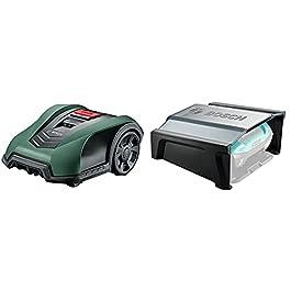Tondeuse Robot connectée Bosch – Indego S+350 & Garage pour Tondeuse Robot Bosch – Indego 350/400 (Noir, 275 x 500 x 510 mm)