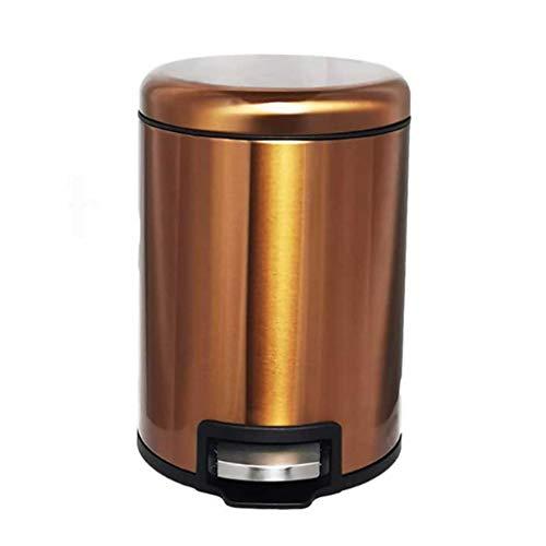 LMJ Bote de Basura Acero Inoxidable de Basura de Pedal con la Tapa del pequeño hogar Dormitorio Cocina Baño Oficina a Prueba de Agua y Desodorante Papeleras (Color : 5l)