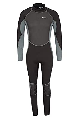 Mountain Warehouse Mens Full Wetsuit - Neoprene Contour Fit Charcoal X-Small/Small