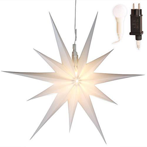 Stern Weihnachten weiß beleuchtet Ø 50cm mit 11 Zacken zum Aufhängen 7m Strom-Kabel mit LED-Birne außen