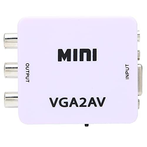 Convertidor de computadora a TV, Mini VGA a AV 1080P Adaptador convertidor de video HD 165MHz con cable de datos para TV PC Bajo consumo de energía sin fuente de alimentación Plug and Play flexible po