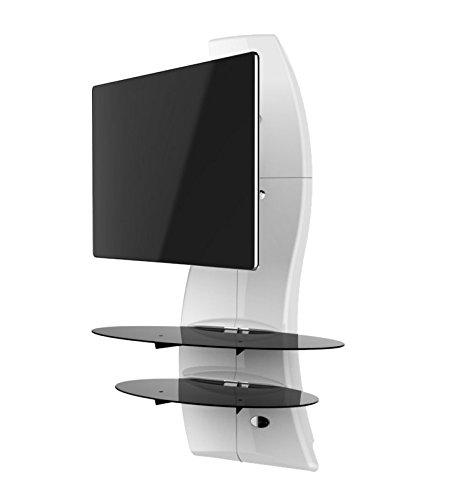Meliconi Ghost Design 2000 Rotation Swivel & Tilt Wall Bracket System For All 32-63 Inch Tv Ledlcd &Plasma Glass Shelfes Max Vesa 400 Made In Italy White