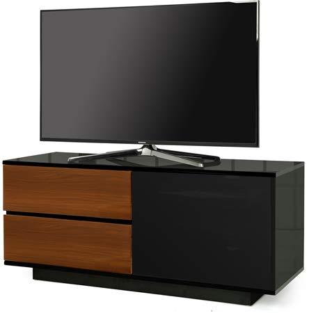 """CENTURION unterstützt unterstützt Gallus Ultra Fernbedienung Freundlicher beamthru schwarz glänzend mit 2-walnut Schubladen 66cm-55\""""flach Bildschirm TV Schrank"""