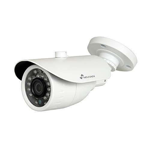Nivian-Cámara Falsa metálica Tipo Bullet, réplica de cámara Real, Dummy Cámara de Seguridad Vigilancia Falsa Impermeable –Corona Leds IR Reales-Fake Cámara Simulada CCTV