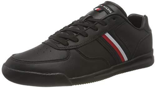 Tommy Hilfiger Lightweight Leather Sneaker Flag, Zapatillas Hombre, Black, 43 EU