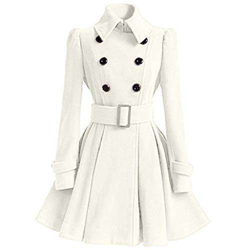 Damen Mantel Kleider Elegant Winter Klassische Vintage Zweireihig Revers Schlack Trenchcoat Wollmantel Warme Wintermantel Outwear Gothic Mäntel Lang...