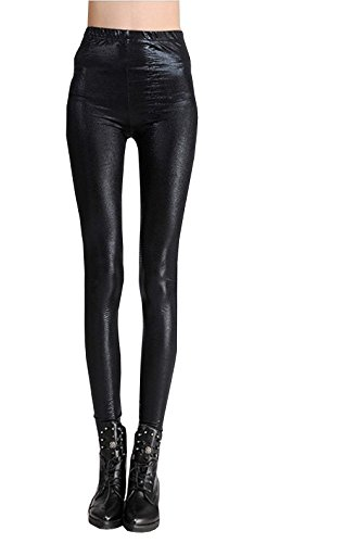 Legging vrouw - eco-leer - python effect - gothic - zwart - stretch - one size - cadeau-idee