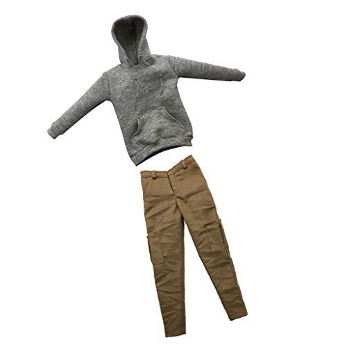 F Fityle 1/6 Ropa Gris Sudadera con Capucha Pantalones Casuales para Figuras HT Enterbay de 12 Pulgadas