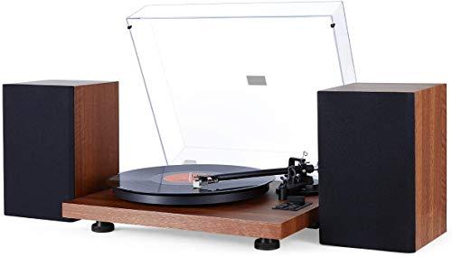 1 BY ONE Schallplattenspieler HiFi-Plattenspieler mit Lautsprechern Wireless Turntable mit 36 Watt Bücherregal Lautsprecher 33/45 U/min Vinyl Record Player mit Magnetkartusche (EU)