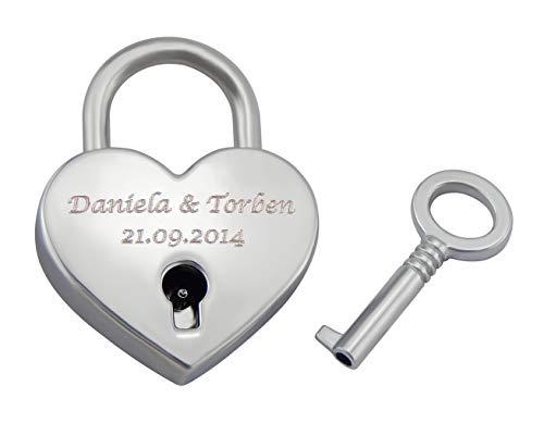 Hanessa graviertes Corazón Candado Amor con tu Grabado Aniversario Aniversario Regalo Idea Nombre Grabado en Color Plata