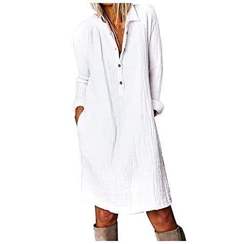 Women's Casual Fashion Loose Solid Color Cotton Linen Lapel Shirt Dress Summer Beach Party Long Maxi Dress S1603 White