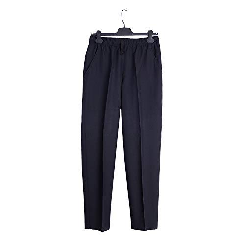 Pantalón Adaptado Hombre Color Gris/Marino - Tallas Grandes - Pantalon Vestir con Goma en la Cintura (Marino, 2XL)