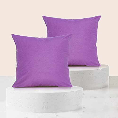 Viste tu hogar Pack 2 Fundas de Cojin 50x50 cm, Algodón y Poliéster, para Decoración de Hogar en Color Morado Liso.