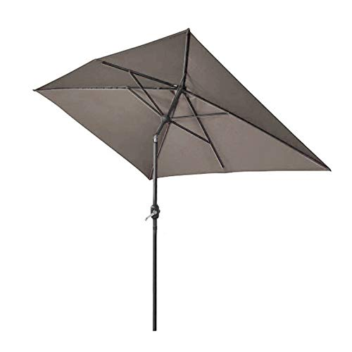 Greenbay 2x3m Patio Outdoor Umbrella Wind Up Garden Parasol Sun Shade Aluminium Crank Tilt Mechanism (Brown)