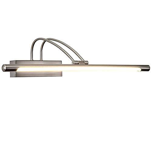 8W Modern LED Metall Spiegelleuchte Spiegellampe Wandleuchte Badezimmer Spiegel Licht Wasserdicht Beleuchtung Antibeschlag Wandlampe für Badzimmer Arbeitszimmer, Warmes Licht/Gebürstetes Nickel